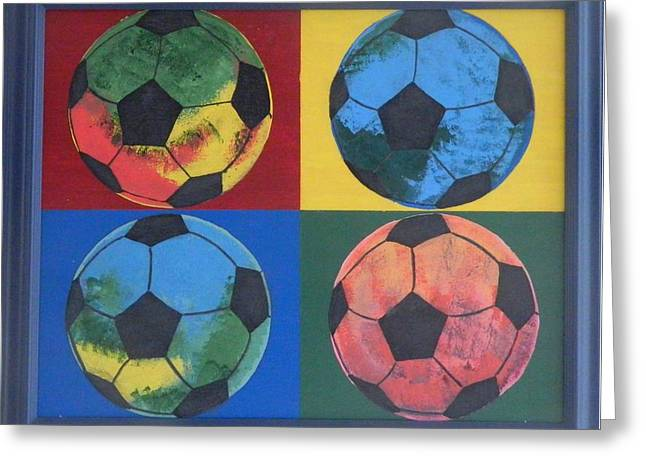 League Paintings Greeting Cards - Soccer Balls Greeting Card by Ken Pursley