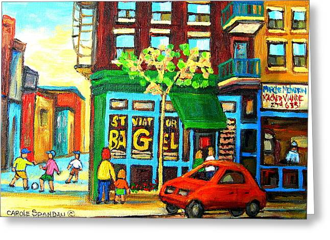 Bagel Shops Greeting Cards - Soccer Game At The Bagel Shop Greeting Card by Carole Spandau