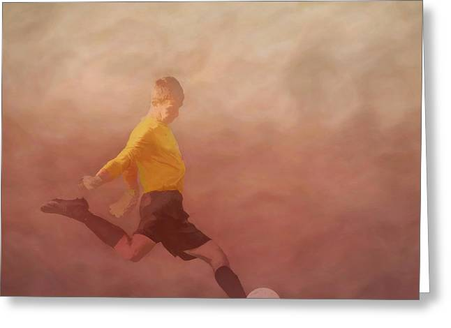 Childrens Books Digital Greeting Cards - Soccer Player Kicking Greeting Card by Randy Steele