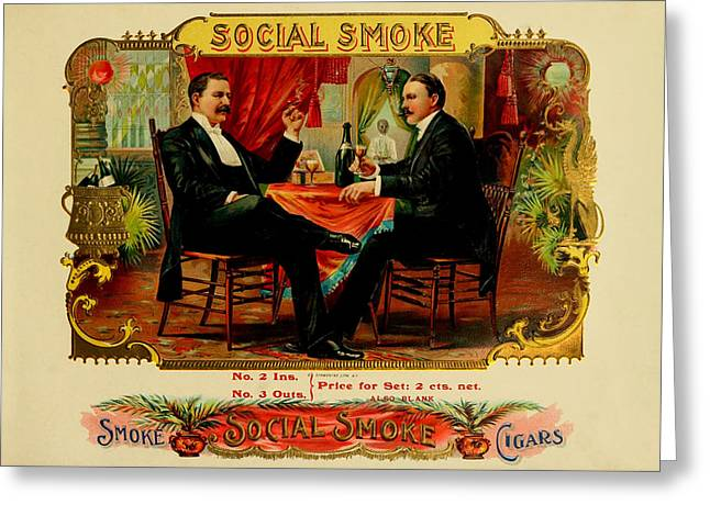 Smoking Room Decor Greeting Cards - Social Smoke Vintage Cigar Label Greeting Card by Serge Averbukh