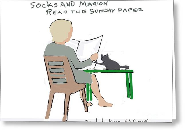 Reading The Paper Greeting Cards - Sock and Marion Sketch Greeting Card by Fred Jinkins