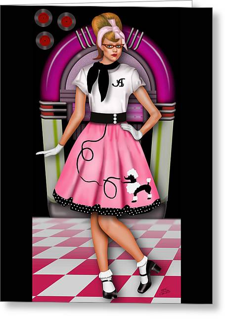 20th Greeting Cards - Sock Hop Greeting Card by Troy Brown