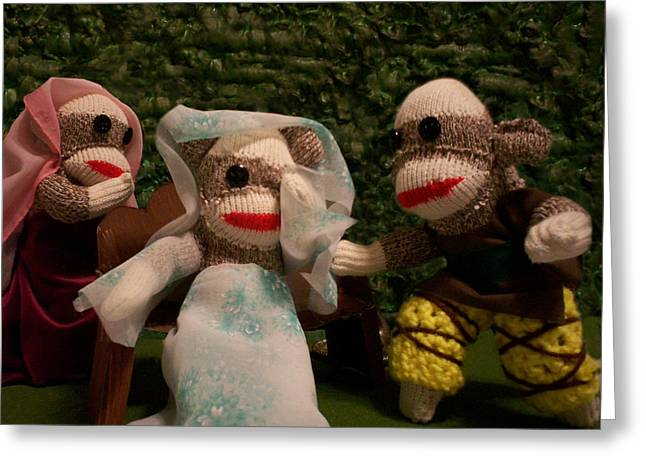 Sock Monkey Twelfth Night Greeting Card by David Jones