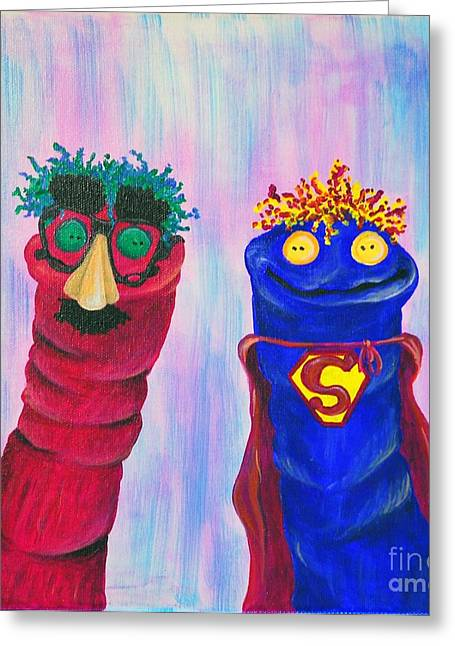 Sock Puppets Under Cover Greeting Card by Robin Wiesneth