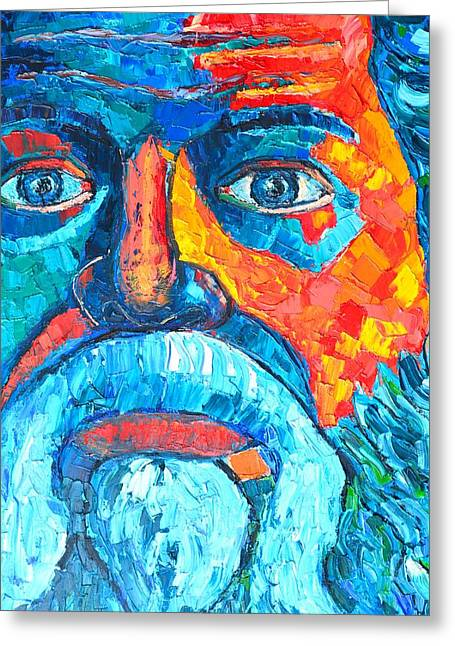 Square Format Greeting Cards - Socrates Portrait Greeting Card by Ana Maria Edulescu