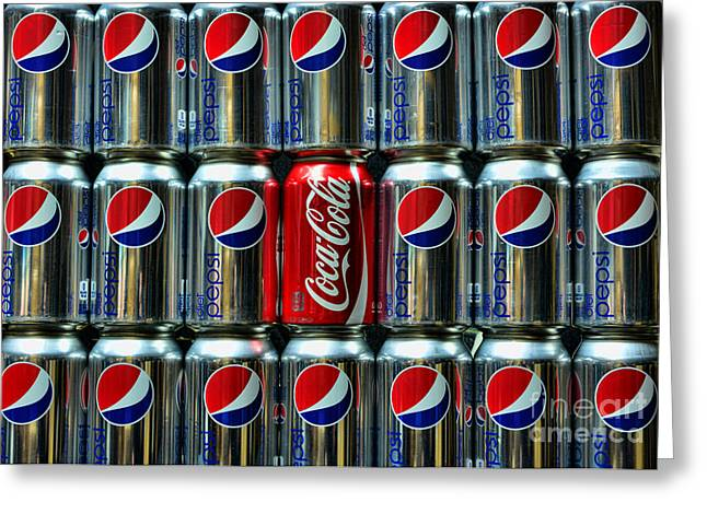 Pepsi Can Greeting Cards - Soda - coke vs. pepsi Greeting Card by Paul Ward