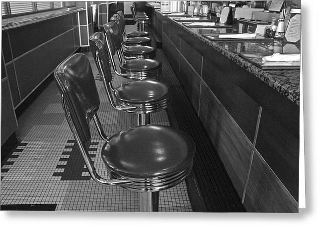 Sit-ins Greeting Cards - Soda Fountain Counter 1 Greeting Card by Denise Mazzocco