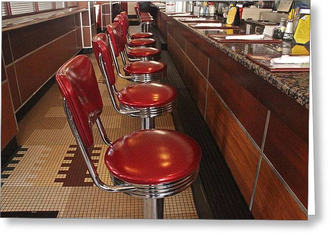 Sit-ins Greeting Cards - Soda Fountain Counter Greeting Card by Denise Mazzocco