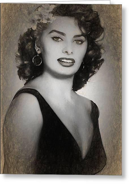 Sofia Loren Sketch Greeting Card by Joaquin Abella