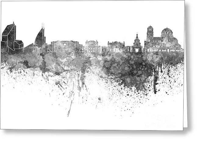 Bulgaria Paintings Greeting Cards - Sofia skyline in black watercolor on white background Greeting Card by Pablo Romero