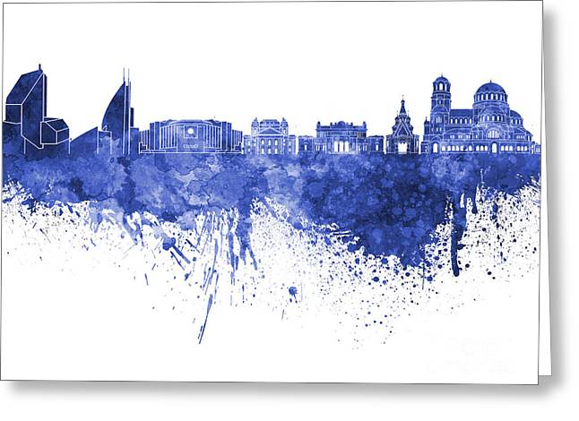 Bulgaria Paintings Greeting Cards - Sofia skyline in blue watercolor on white background Greeting Card by Pablo Romero