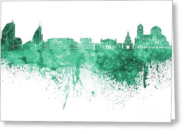 Bulgaria Paintings Greeting Cards - Sofia skyline in green watercolor on white background Greeting Card by Pablo Romero