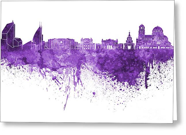 Bulgaria Paintings Greeting Cards - Sofia skyline in purple watercolor on white background Greeting Card by Pablo Romero