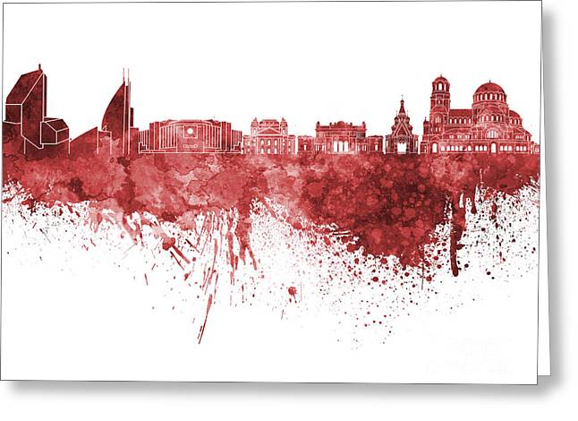 Bulgaria Paintings Greeting Cards - Sofia skyline in red watercolor on white background Greeting Card by Pablo Romero