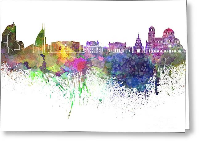 Bulgaria Paintings Greeting Cards - Sofia skyline in watercolor on white background Greeting Card by Pablo Romero