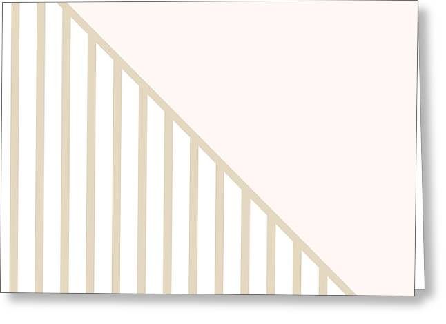 Art On Line Greeting Cards - Soft Blush and Champagne Stripe Triangles Greeting Card by Linda Woods