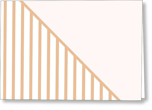 Art On Line Greeting Cards - Soft Blush and Coral Stripe Triangles Greeting Card by Linda Woods