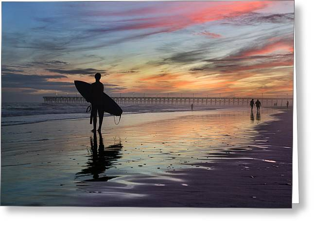 City Pier Greeting Cards - Surfing the Shadows of Light Greeting Card by Betsy C Knapp