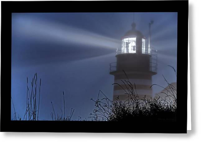 Coastal Maine Greeting Cards - Soft Focus Fog - West Quoddy Head Lighthouse Greeting Card by Marty Saccone