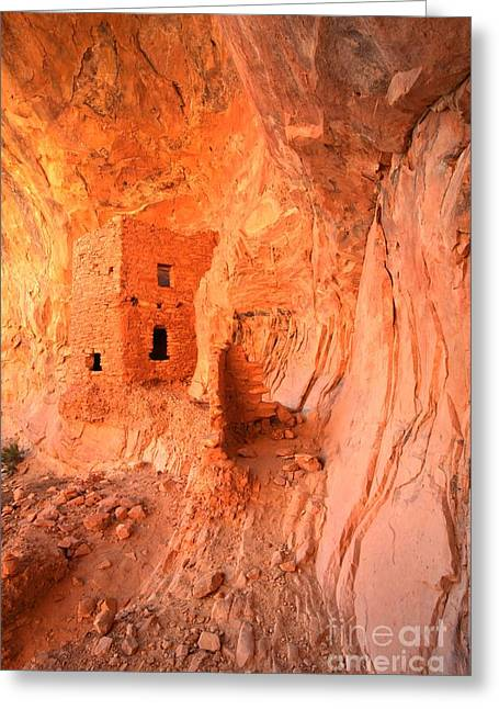 Ancient Ruins Greeting Cards - Soft Glow On Tower House Greeting Card by Adam Jewell