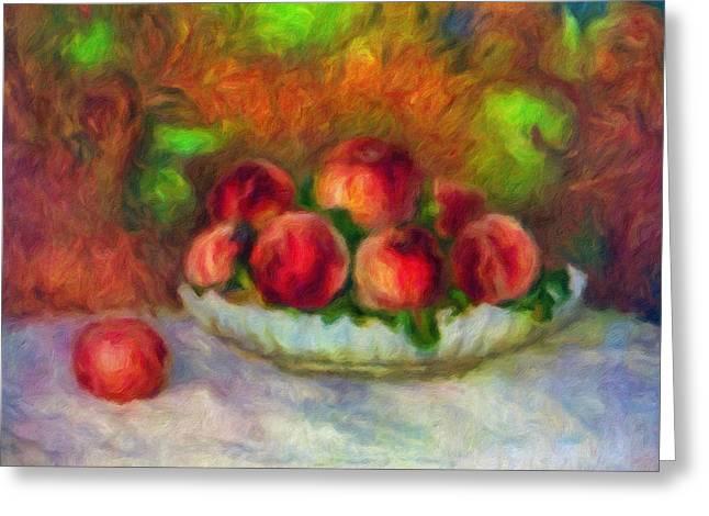 White Cloth Greeting Cards - Soft Peaches Still Life Greeting Card by Georgiana Romanovna