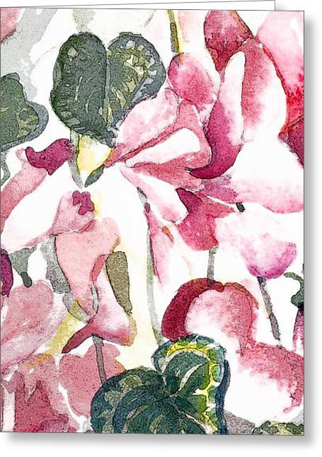 """flora Prints"" Greeting Cards - Soft Pink Greeting Card by Mindy Newman"