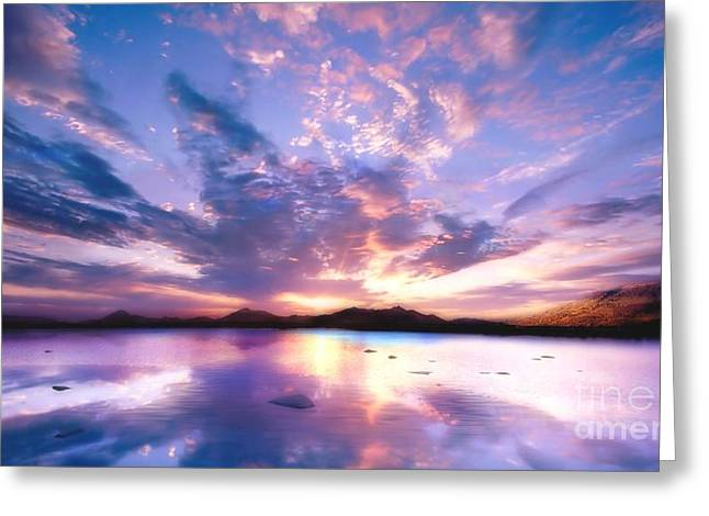 Colorful Reflections Greeting Cards - Soft Setting Greeting Card by Photodream Art