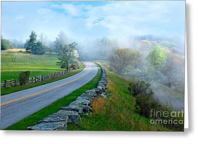 Soft Spring Morning On Blue Ridge Parkway I Greeting Card by Dan Carmichael
