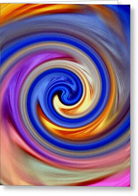 Abstract Digital Pastels Greeting Cards - Soft Swirl With Oils V B Greeting Card by Gert J Rheeders