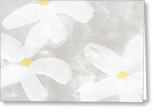 Relaxing Mixed Media Greeting Cards - Soft White Flowers Greeting Card by Linda Woods