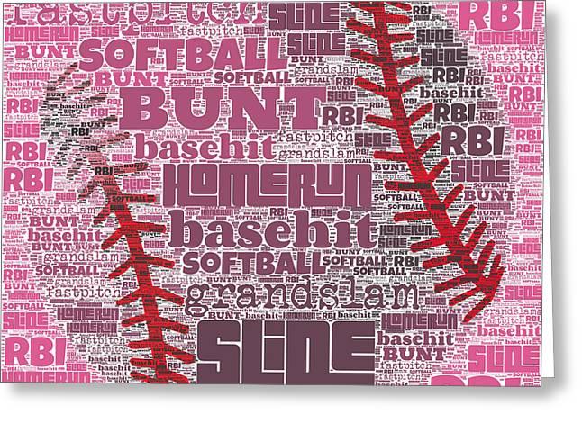 Softball  Greeting Card by Brandi Fitzgerald