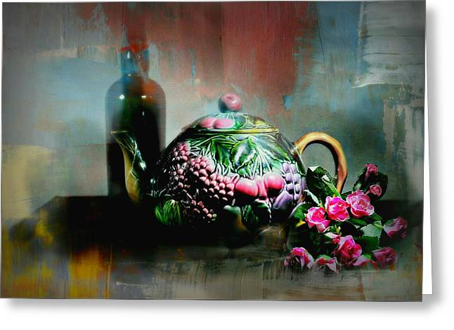 Still Life With Bottle Greeting Cards - Softly Silent Greeting Card by Diana Angstadt