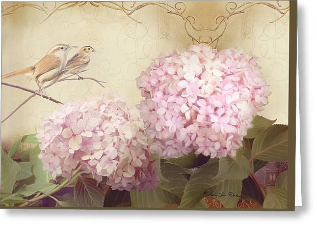 Loose Mixed Media Greeting Cards - Softly Summer - Carolina Wrens w Blush Pink Hydrangeas Greeting Card by Audrey Jeanne Roberts