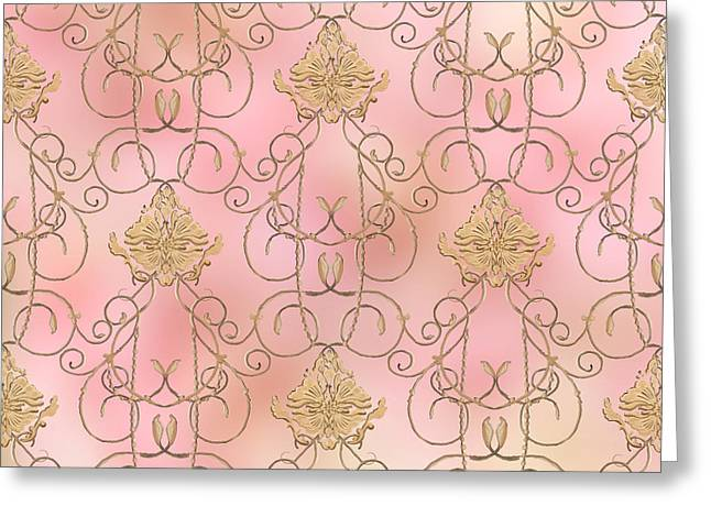 Softly Summer - French Parisian Apartment Damask Greeting Card by Audrey Jeanne Roberts