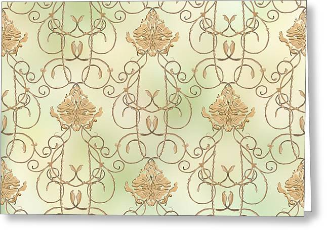 Softly Summer - French Parisian Apartment Damask Mint Greeting Card by Audrey Jeanne Roberts