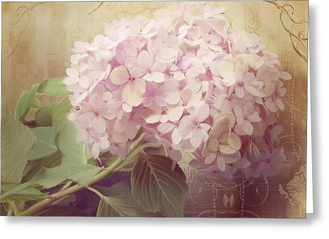 Pink Blossoms Greeting Cards - Softly Summer - Hydrangea 2 Greeting Card by Audrey Jeanne Roberts