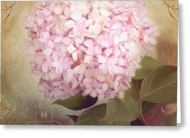 Loose Mixed Media Greeting Cards - Softly Summer - Hydrangea Greeting Card by Audrey Jeanne Roberts