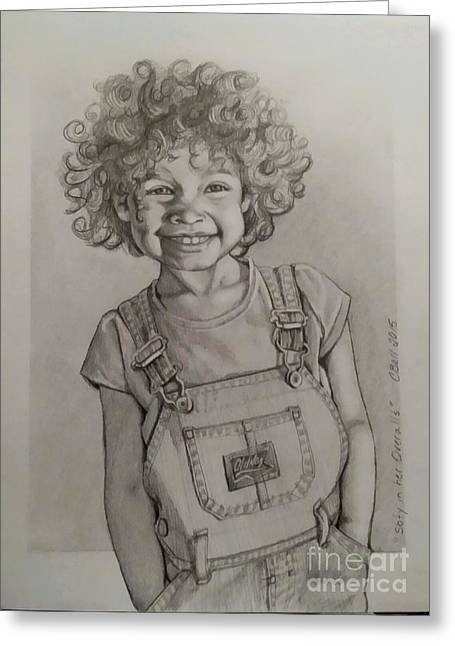 Overalls Drawings Greeting Cards - Sofy in Her Overalls Greeting Card by Chris Bell
