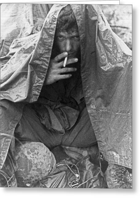 Soggy Soldier In Vietnam Greeting Card by Underwood Archives