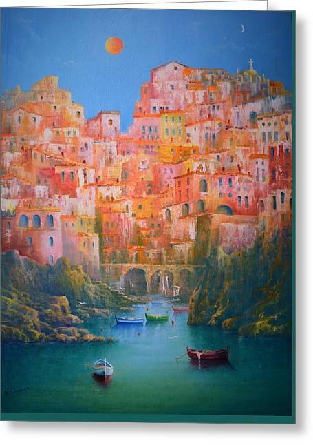 Amalfi Sunset Greeting Cards - Sogni di Italia. Greeting Card by Joe Gilronan