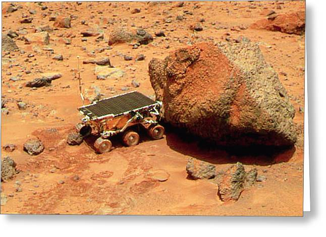 Pathfinder Greeting Cards - Sojourner Robotic Vehicle On Mars Greeting Card by Nasa Sojourner. Mars Pathfinder Mosaic Image Of The