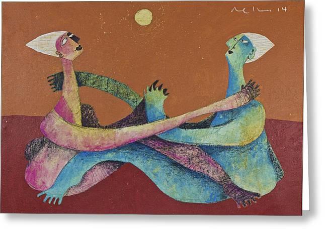 Cubist Mixed Media Greeting Cards - SOL No. 2  Greeting Card by Mark M  Mellon