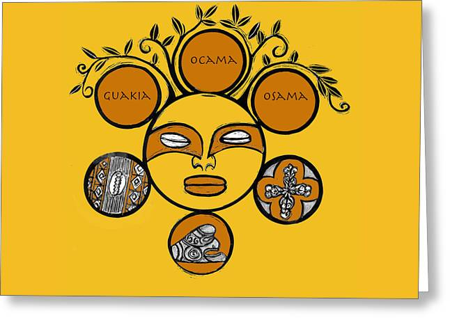 Indigenous Drawings Greeting Cards - Sol Taino Greeting Card by Aurora Levins Morales