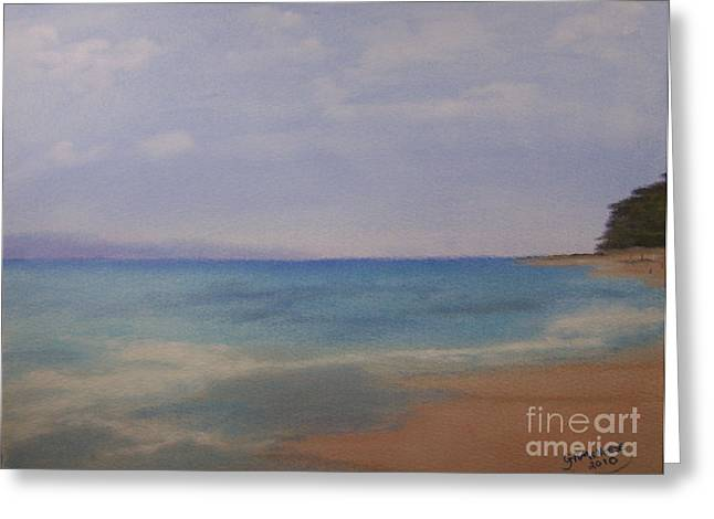Serene Pastels Greeting Cards - Solace by the Sea Greeting Card by Georgie McNeese
