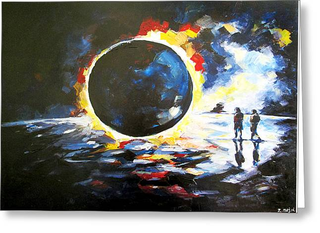 Solar Eclipse Paintings Greeting Cards - Solar Eclipse Greeting Card by Zlatko Music
