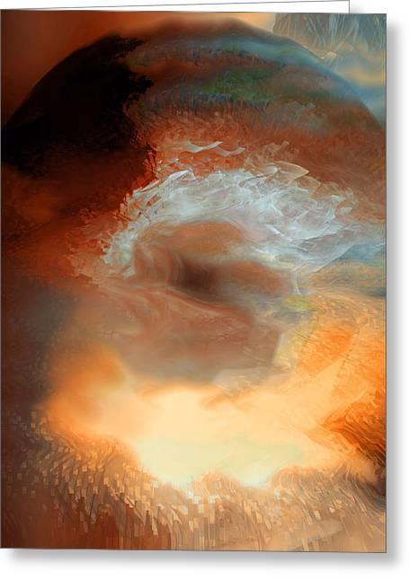 Burst Digital Art Greeting Cards - Solar Eruption Greeting Card by Linda Sannuti