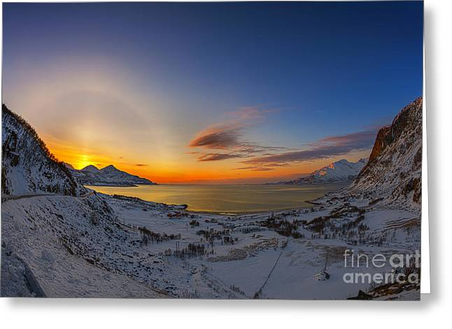 Solar Halo And Sun Pillar, Norway Greeting Card by Babak Tafreshi