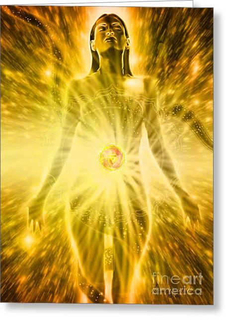 Solar Plexus Chakra Greeting Cards - Solar Plexus Chakra Greeting Card by Leanne M Williams