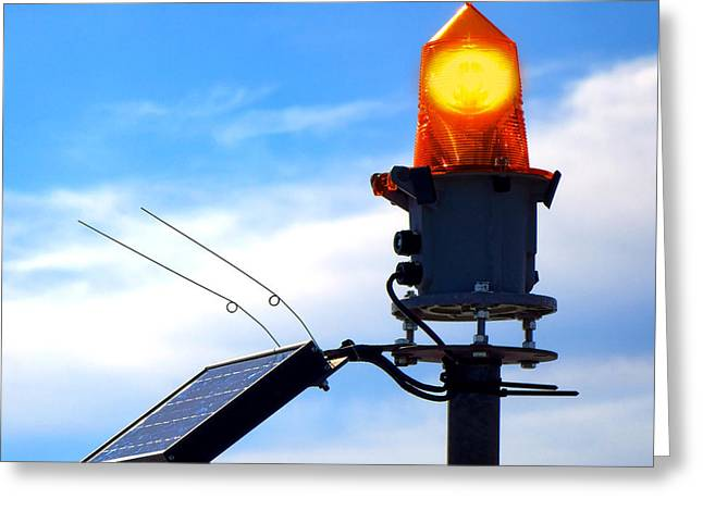 Light Beacon Greeting Cards - Solar Powered Marine Safety Orange Beacon Light  Greeting Card by Olivier Le Queinec