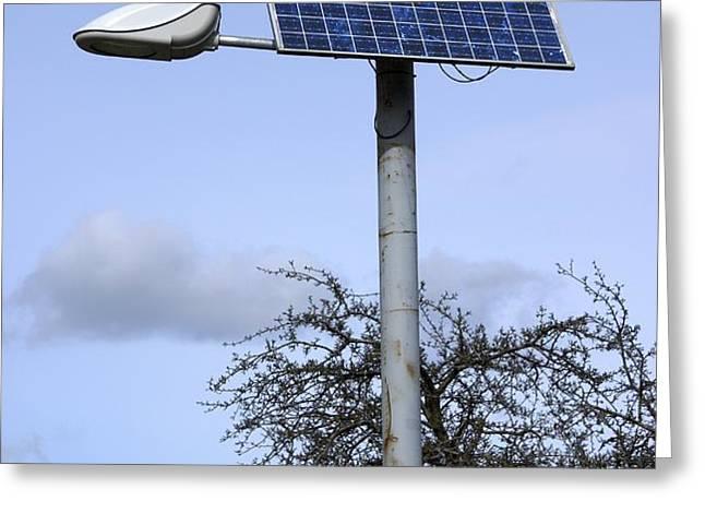 Solar Powered Street Light, Uk Greeting Card by Mark Williamson